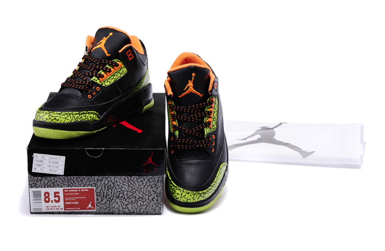 Latest Air Jordans 3 Classic Black Green Cement Orange