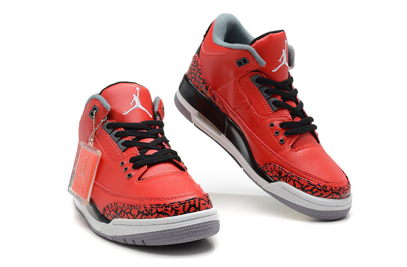Latest Air Jordans 3 Classic Black Red White