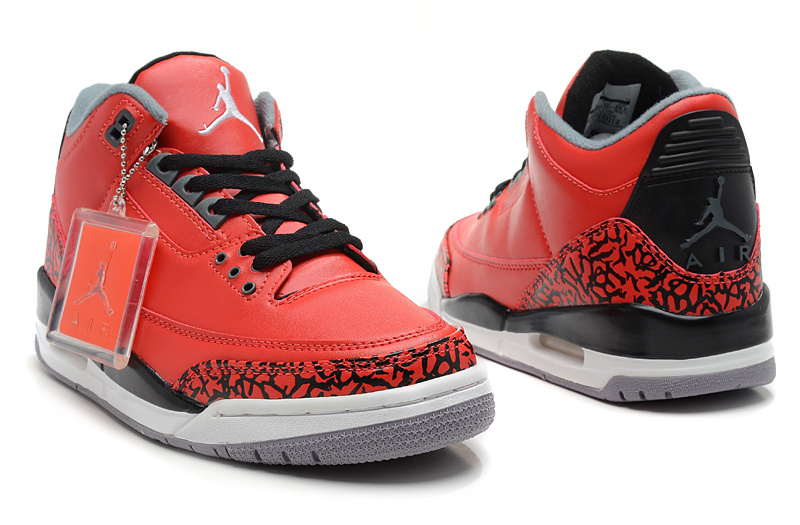 Latest Air Jordans 3 Classic Black Red White - Click Image to Close