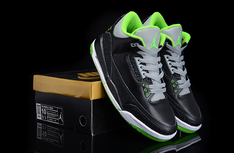 Latest Air Jordans 3 Retro Black Green