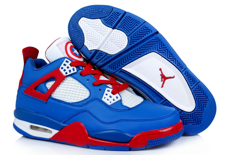 Latest Air Jordans 4 Captain America Edition Retro Blue White Red
