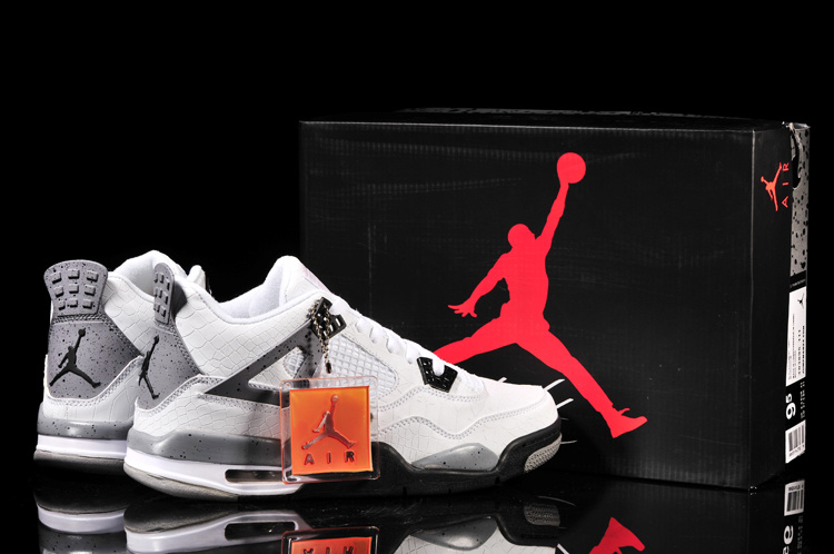 Latest Air Jordans 4 Classic Fish Pattern White Black Grey