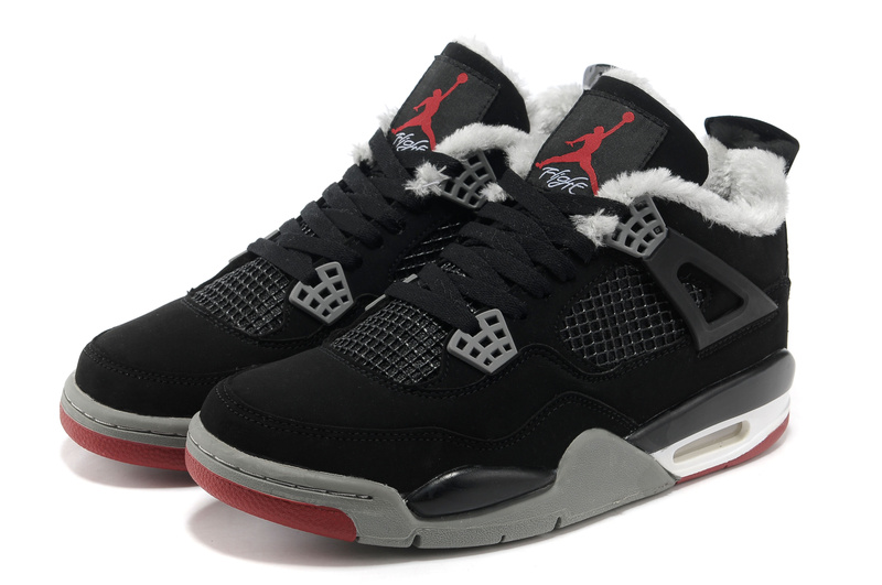 Latest Air Jordans 4 Classic Wool Black Grey Red