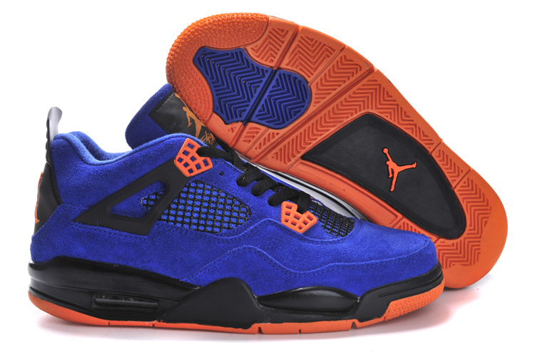 Latest Air Jordans 4 Suede Classic Blue Black Orange