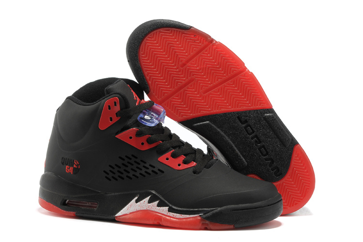 Latest Air Jordans 5 Classic Black Fire Red_05