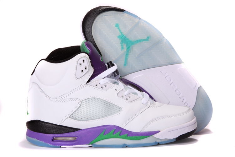 Latest Air Jordans 5 Classic White Purple
