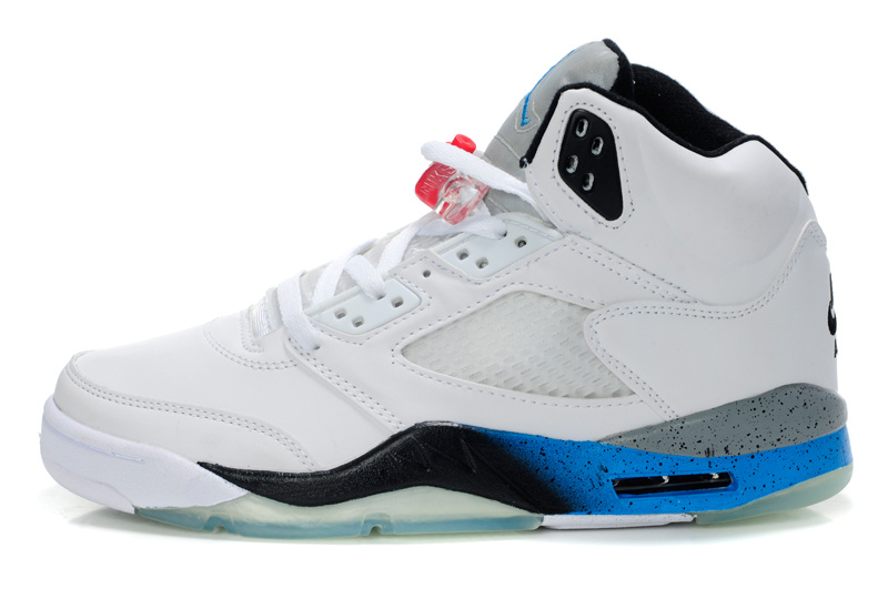 Latest Air Jordans 5 Retro White Black Blue_05