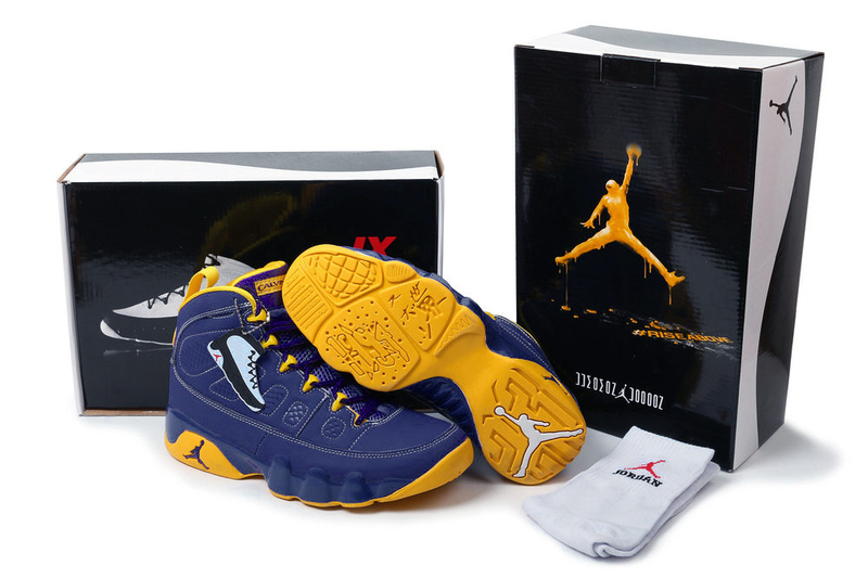 Latest Air Jordans 9 Classic Hardcover Blue Yellow