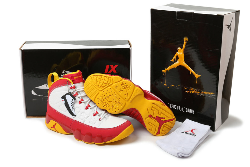 Latest Air Jordans 9 Hardcover Classic White Red Yellow