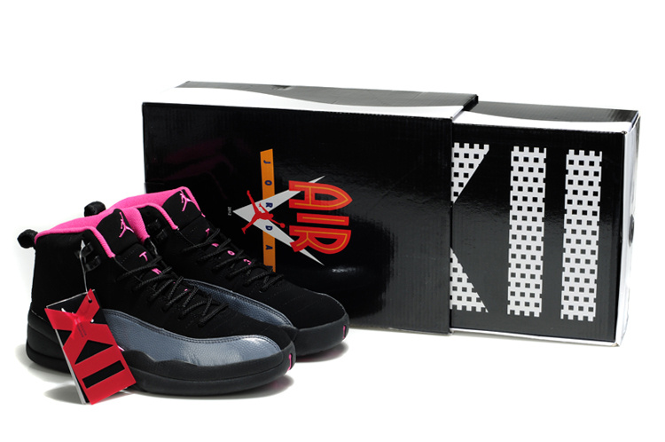 Latest Air Jordans Classic 12 Black Grey Pink
