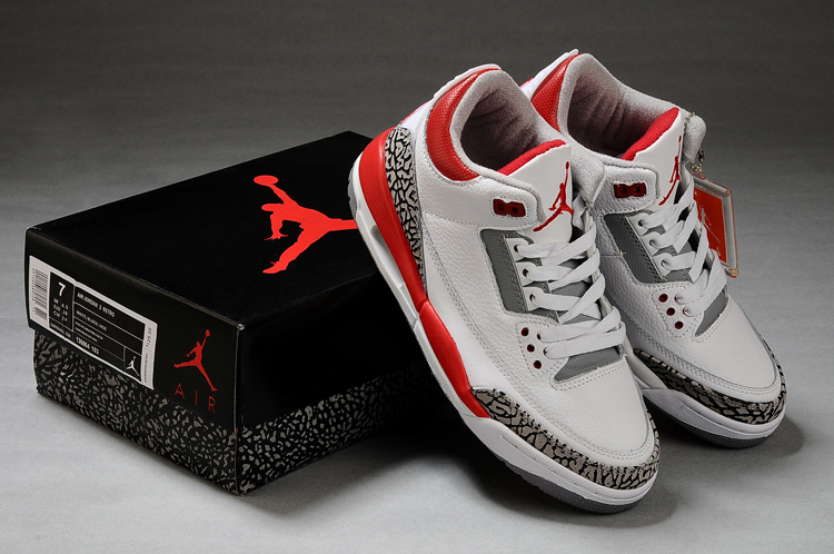 Latest Air Jordans Classic 3 White Grey Red_03