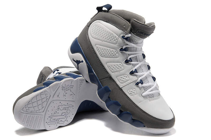 Latest Air Jordans New 9 White Grey Blue