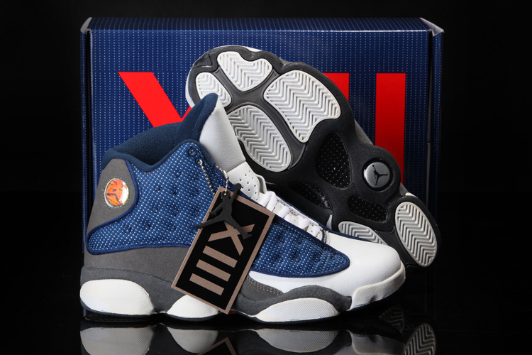 Latest Cool Summer Jordans 13Retro White Blue Grey