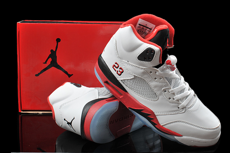 Latest Hardback Air Jordan 5 Classic White Red Black