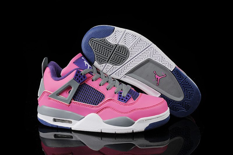 Latest Jordan 4 Classic Pink Blue Grey White For Women