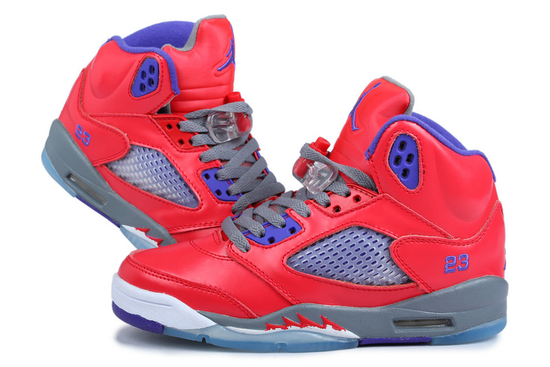 Latest Jordan 5 Pearl Powder Retro Red Grey Blue For Women