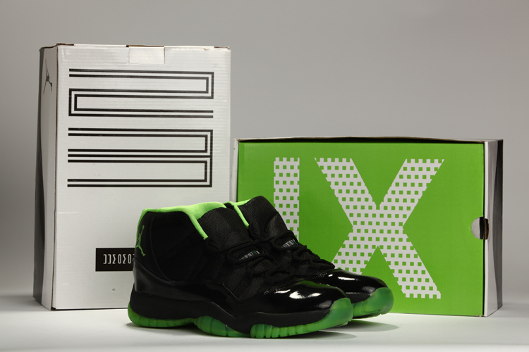 Latest Jordans 11 Classic Black Green