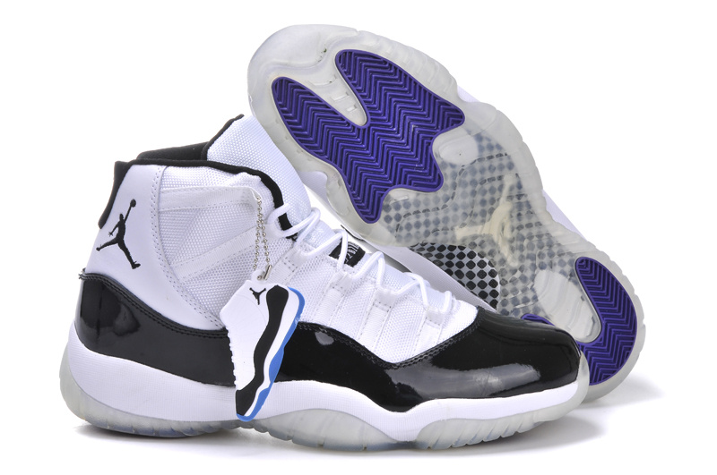 Latest Jordans 11 Classic White Black Blue Shoes With Air Cushion
