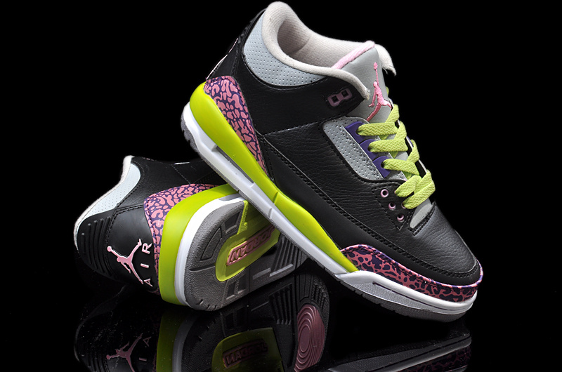 Latest Jordans 3 Classic Black Pink Yellow White