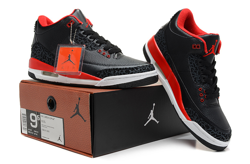 Latest Jordans 3 Classic Hardback Black Red White