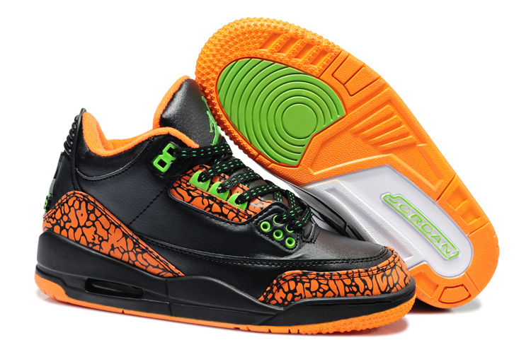 Latest Jordans 3 Retro Black Orange Kids