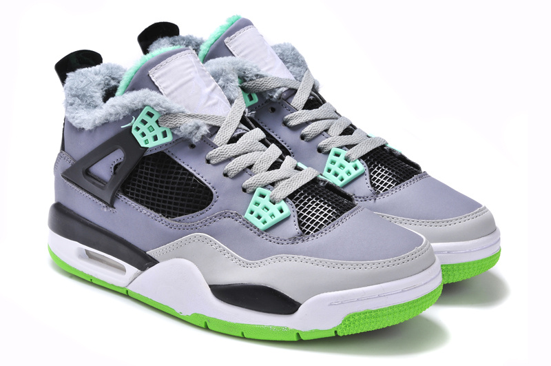 Latest Jordans 4 Classic Grey Black Green with Wool_04