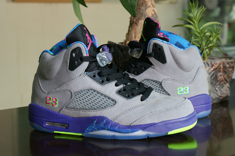 Latest Jordans 5 Mandarin Duck Edition Retro Grey Purple Green