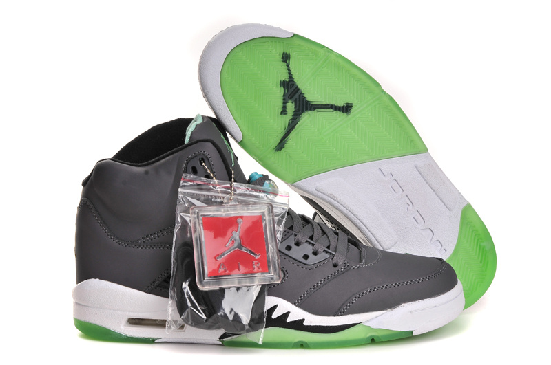Latest Jordans 5 Original Grey White Green