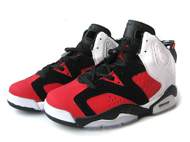 Latest Jordans 6 Classic Black Red White For Women_06