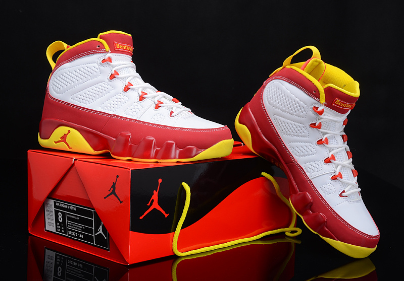 Latest Jordans 9 Reissue Classic White Red Yellow