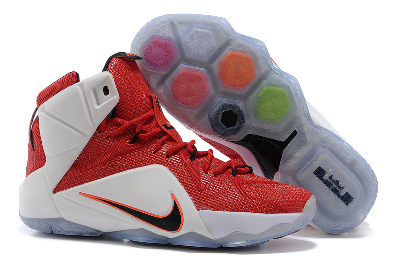 Latest Lebron James 12 Nike Red White Basketball Shoes