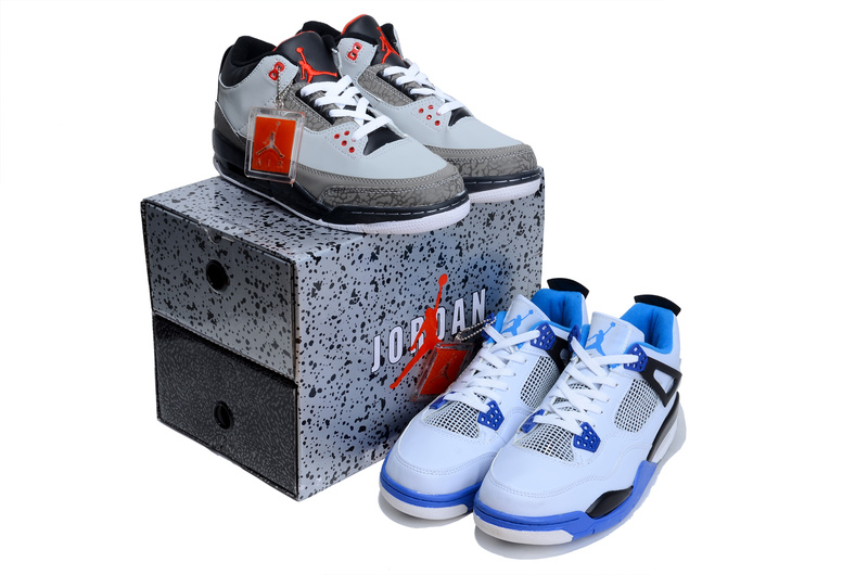 Latest Limited Combine Retro Grey Black Air Jordan 3 And White Blue Jordan 4