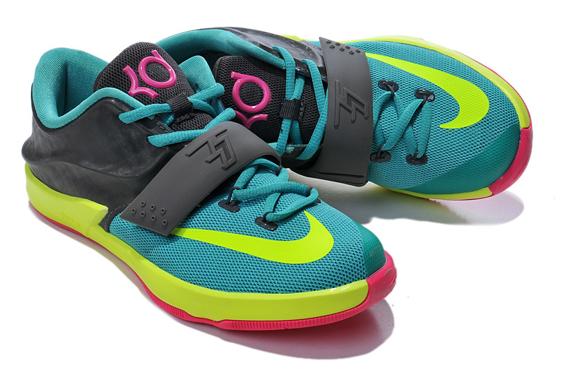 Latest Nike KD 7 Blue Black Yellow Pink For Kids Basketball Shoes