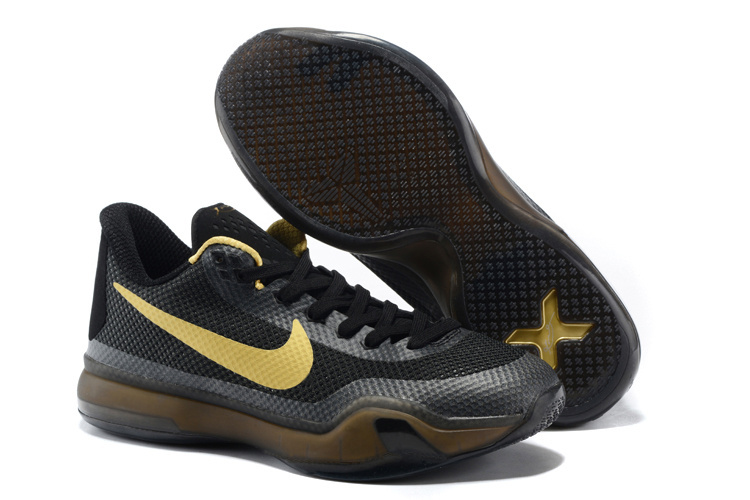 Latest Nike Kobe 10 Black Gold Basketball Shoes