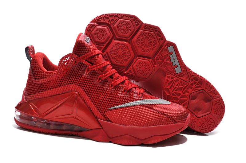 Latest Nike Lebron James 12 Low All Red Basketball Shoes