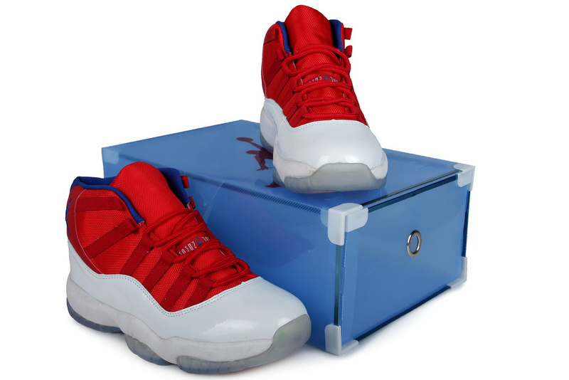 Latest Summer Jordans 11 Red White With Crystal Transparent Package