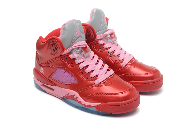 Latest Top Layer Leather Air Jordans 5 Classic Red Pink
