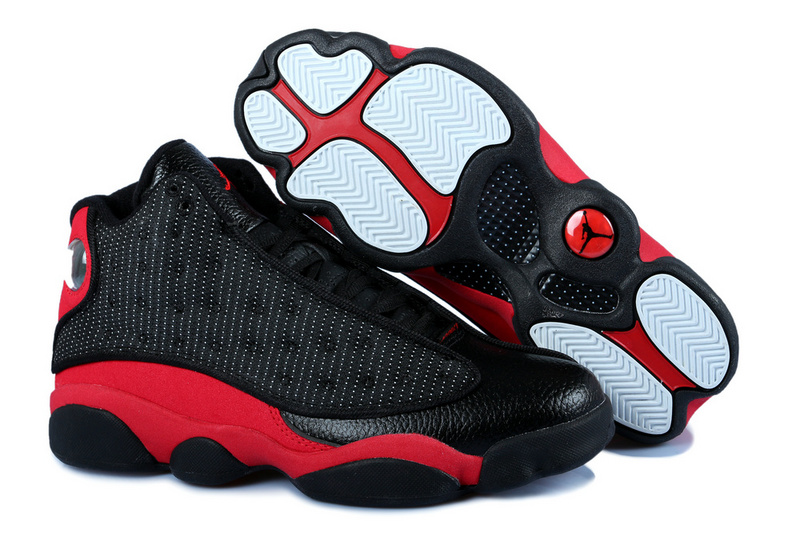 Latest Women Jordan 13 Classic0Black Red With 3D Eye And Recoil Air Cushion