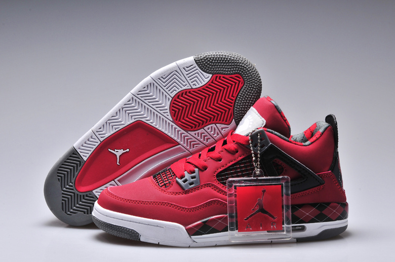 Latest Women Jordan 4 Barefoot Print Original Red Black White