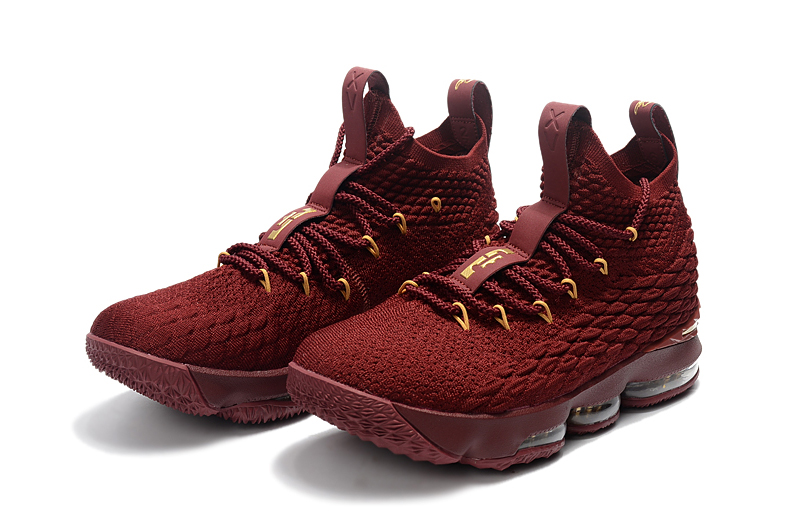 Lebron 15 Wine Red Gloden For Kids Shoes