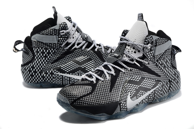 Lebron James 12 Nike Black Men Grey Black Basketball Shoes