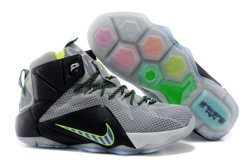 Nike Lebron 12 Latest Grey Black Green Basketball Shoes