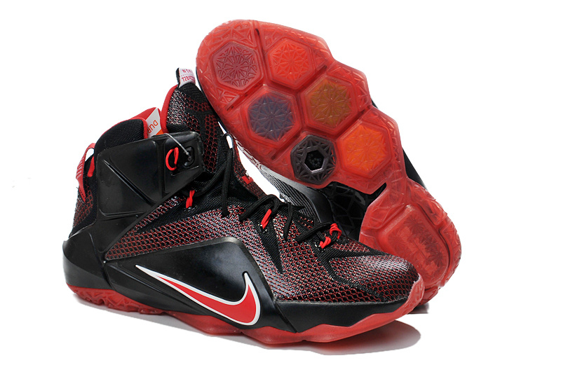Lebron James 12 Nike Black Red Basketball Shoes