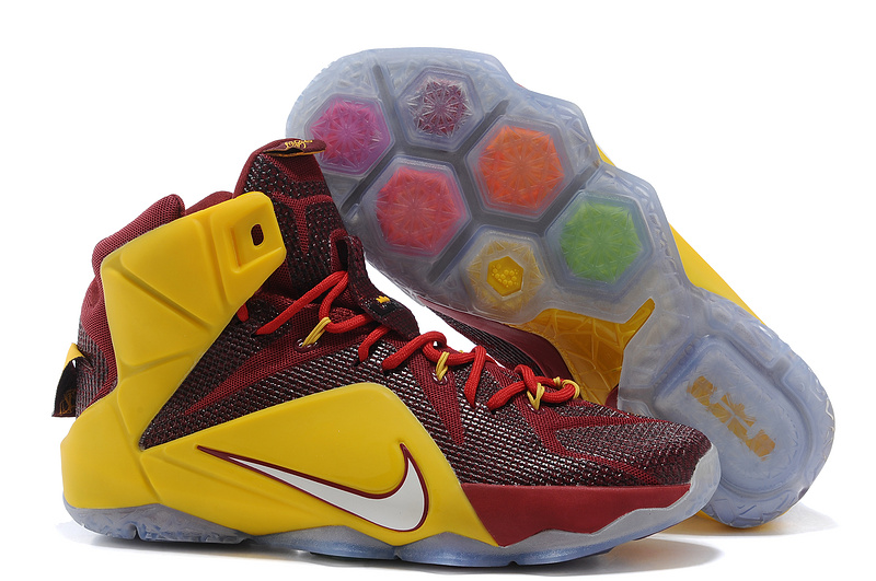 Lebron James 12 Nike Blue Wine Red Yellow Basketball Shoes