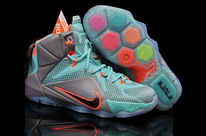 Lebron James 12 Nike Grey Blue Orange For Kid Basketbal Shoes