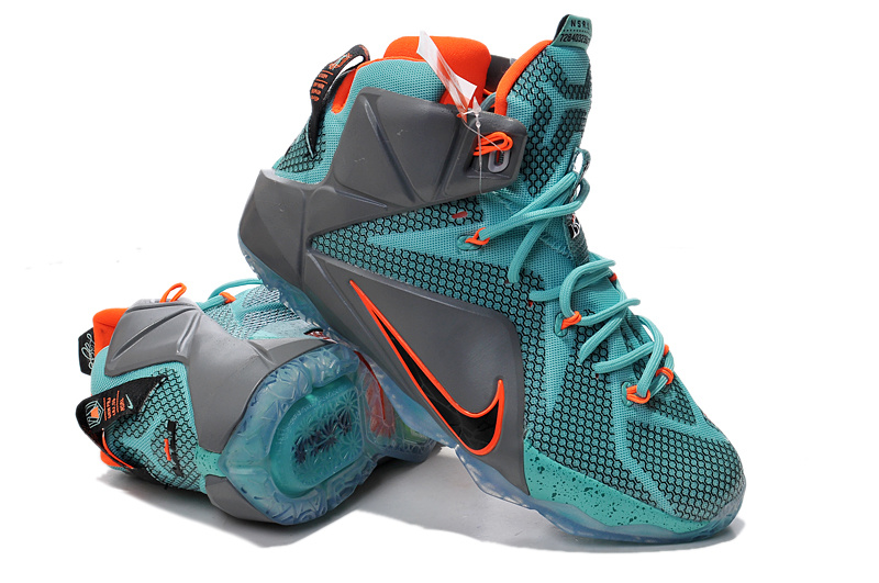 Lebron James 12 Nike Grey Green Orange Basketball Shoes