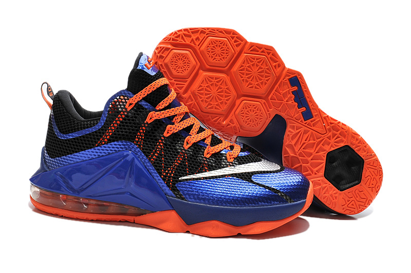 Lebron James 12 Nike Low Black Blue Orange Basketball Shoes