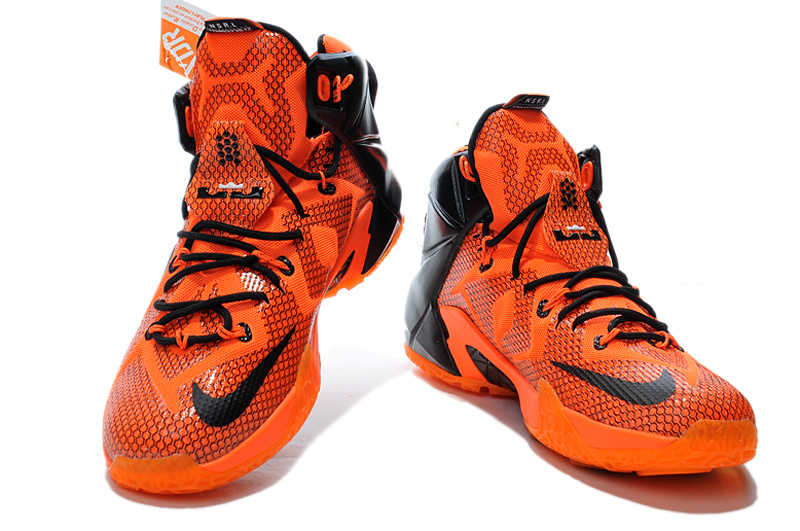 lebron james orange and black basketball shoes