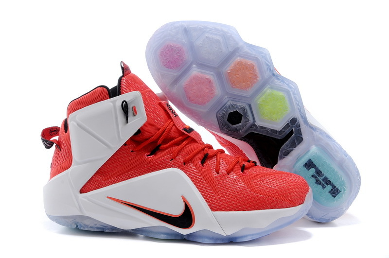 Lebron James 12 Nike Red White Basketball Shoes