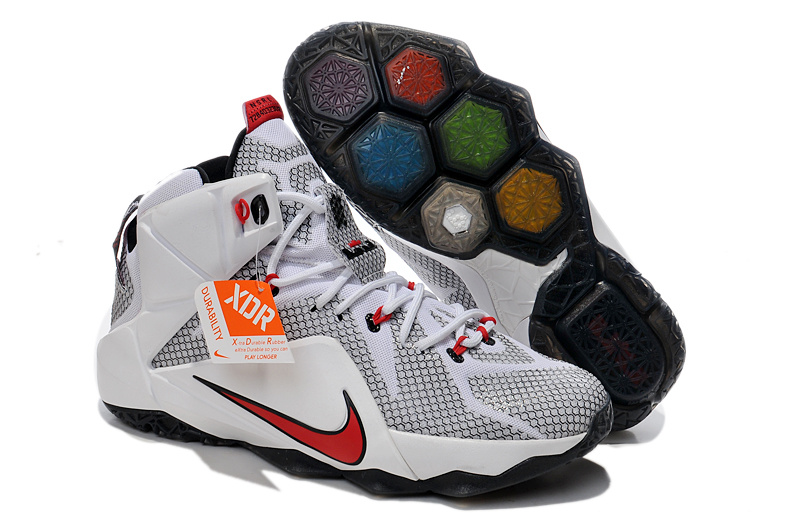 Lebron James 12 Nike White Grey Red Basketball Shoes